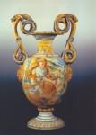 158) Casteldurante Vas bians B Recto Ipp Rombaldoni-Sansone uccide il leone(cm 61x30)-sec.XVII