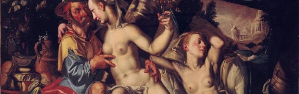 Joachim Wtewael attribuito, Loth e le figlie, olio su tela  cm. 101x138