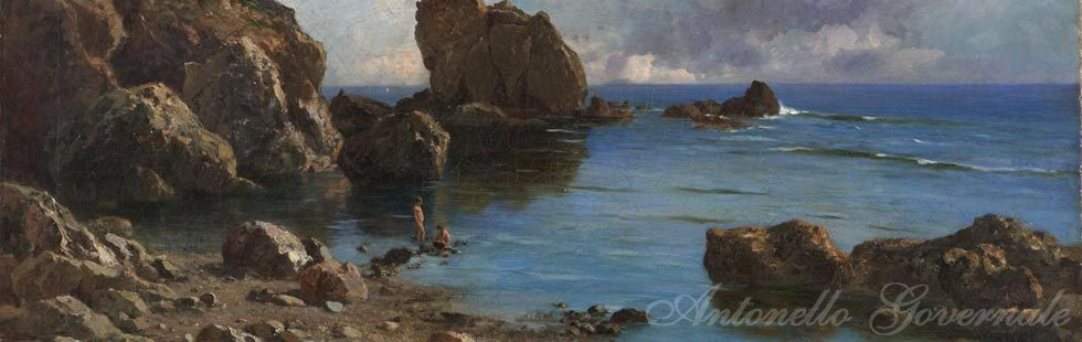 Antonino Leto firmato,  Marina siciliana, olio su tela cm. 55x83.